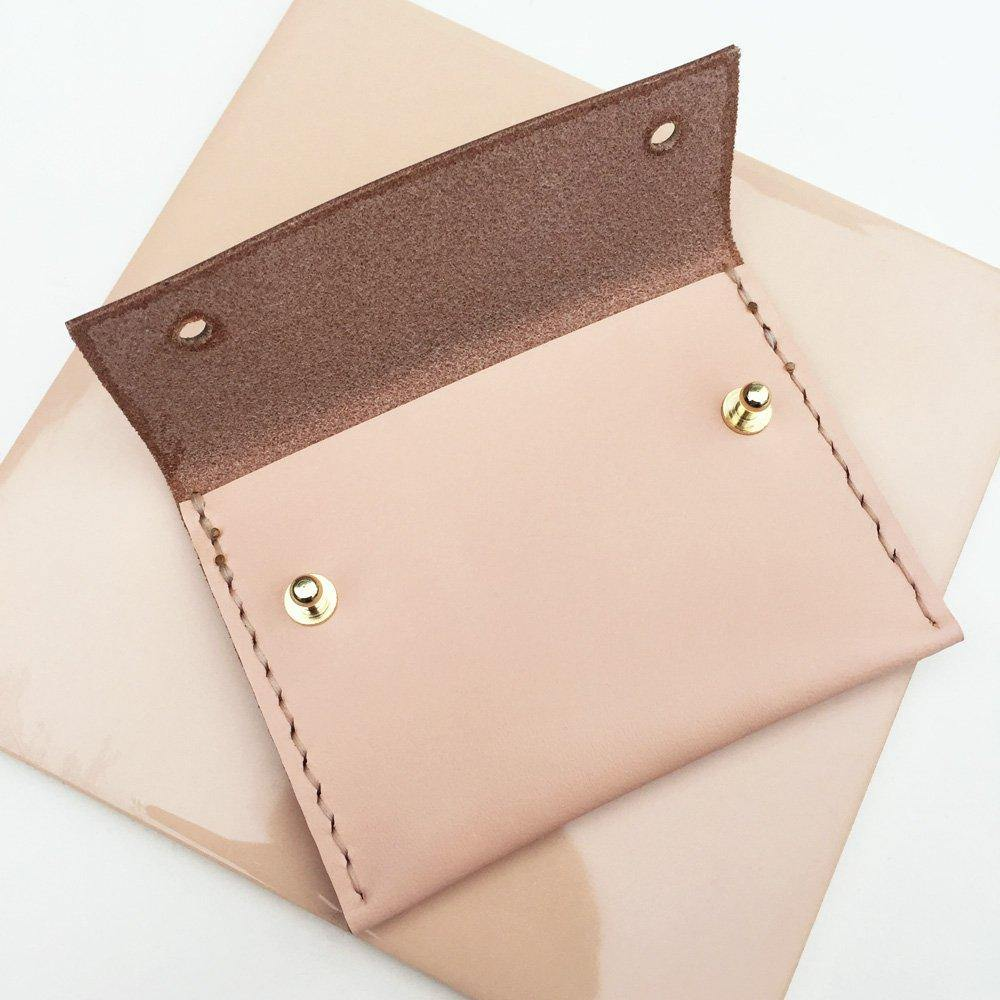 MAYA hand stitched small leather wallet / card holder with coin pocket - Light Pink / Peach