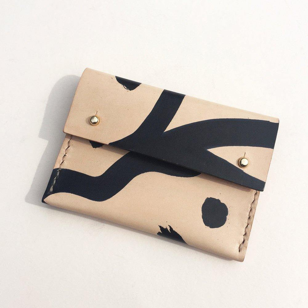 MAYA hand stitched card holder with coin pocket - Shapes
