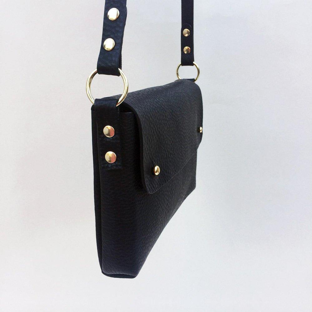 Handmade leather bag - side view