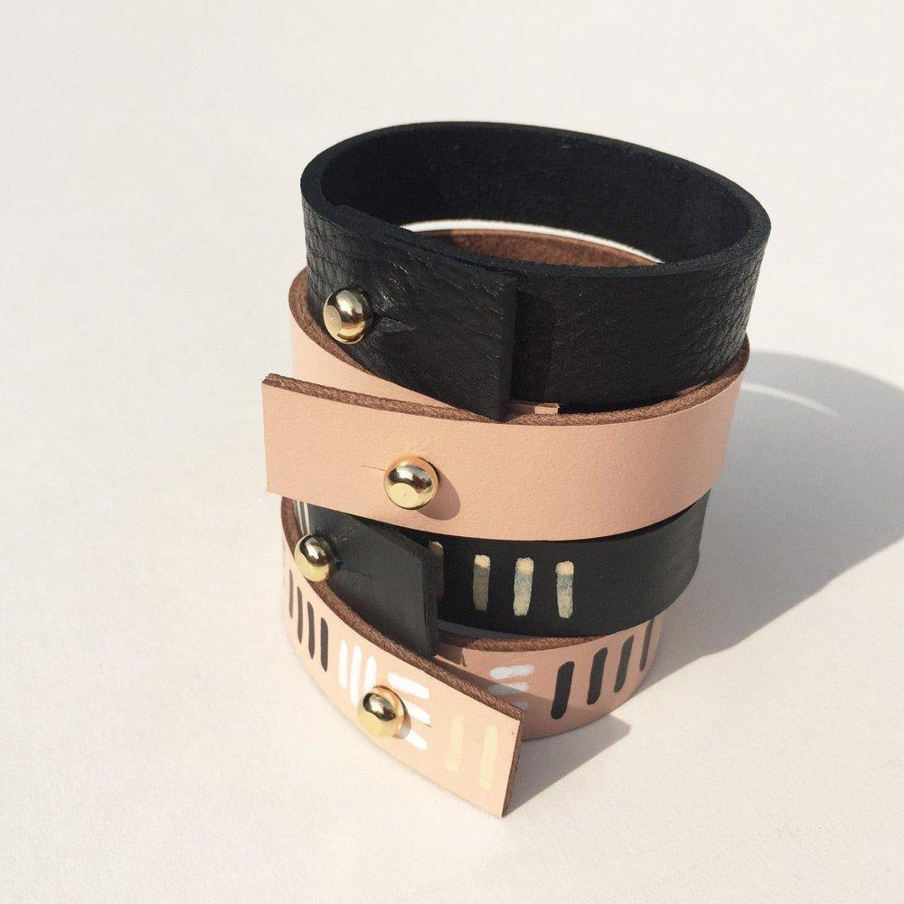Handmade leather bracelets - plain or hand-painted