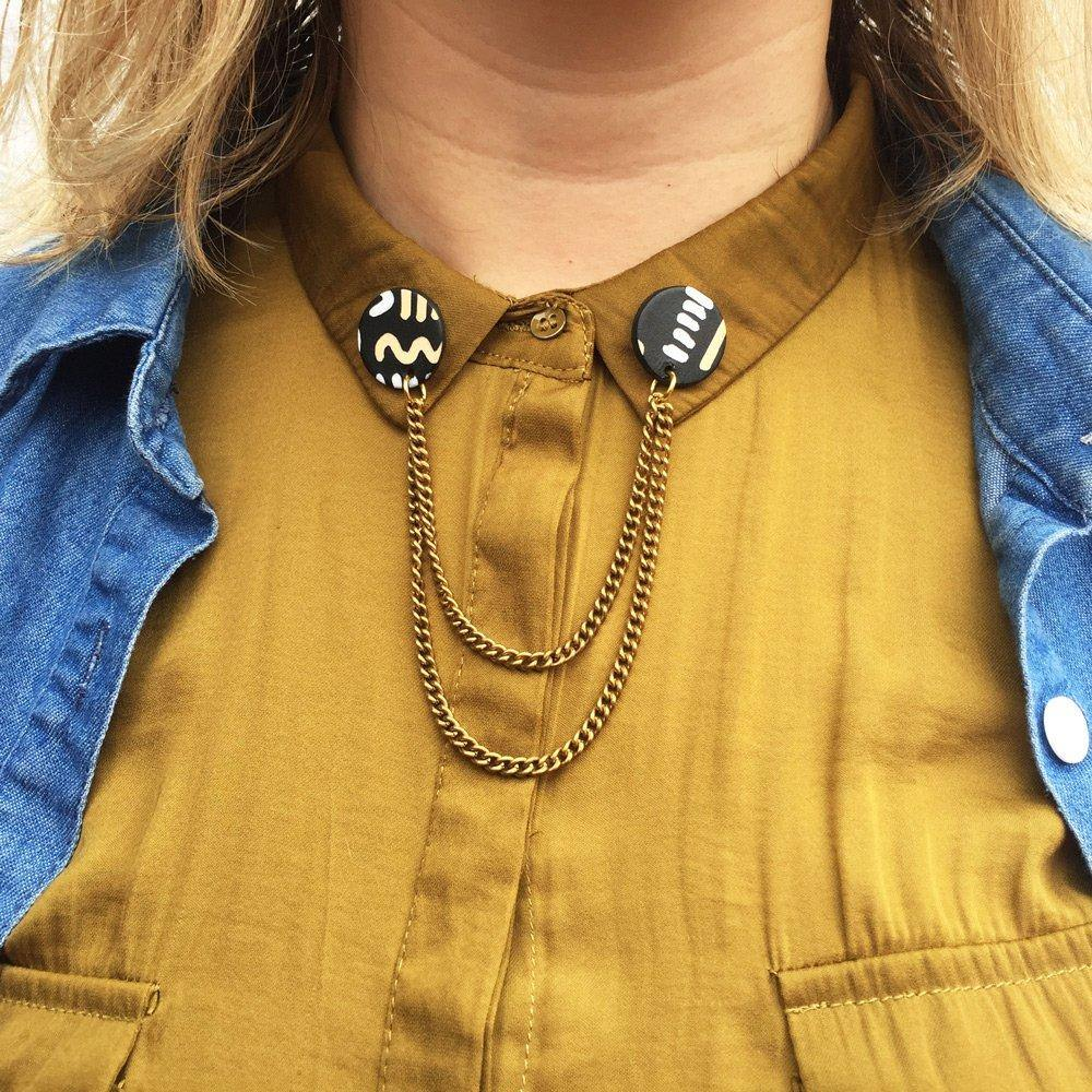 Hand-painted collar pins with chain