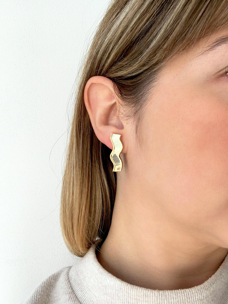 ARIA acrylic stud earrings on model - Mirror Gold