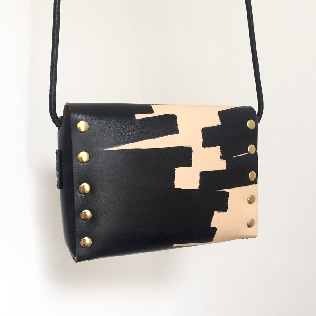 OANA hand-painted mini cross-body bag - Ink Brushed