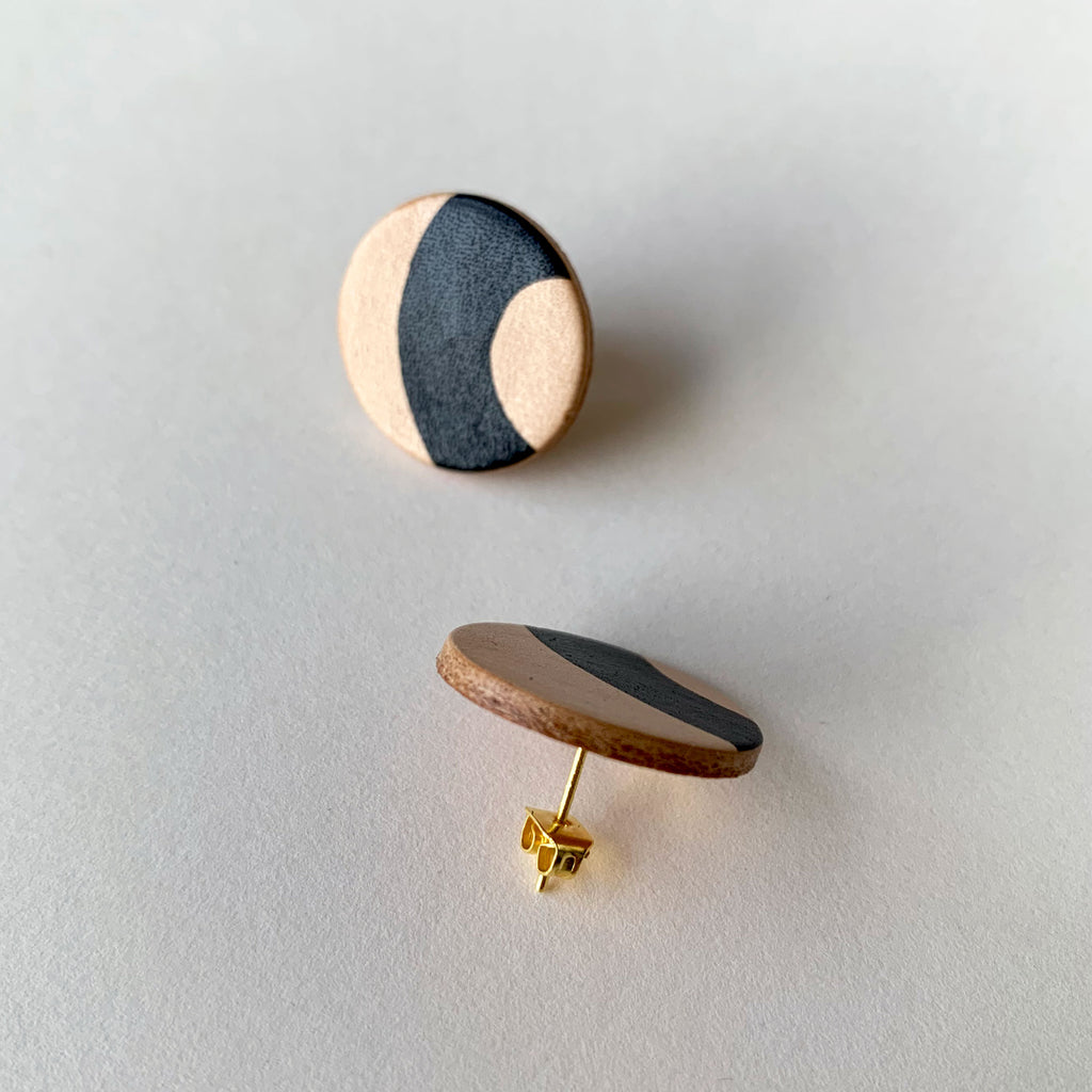 ORYA hand-painted leather stud earrings