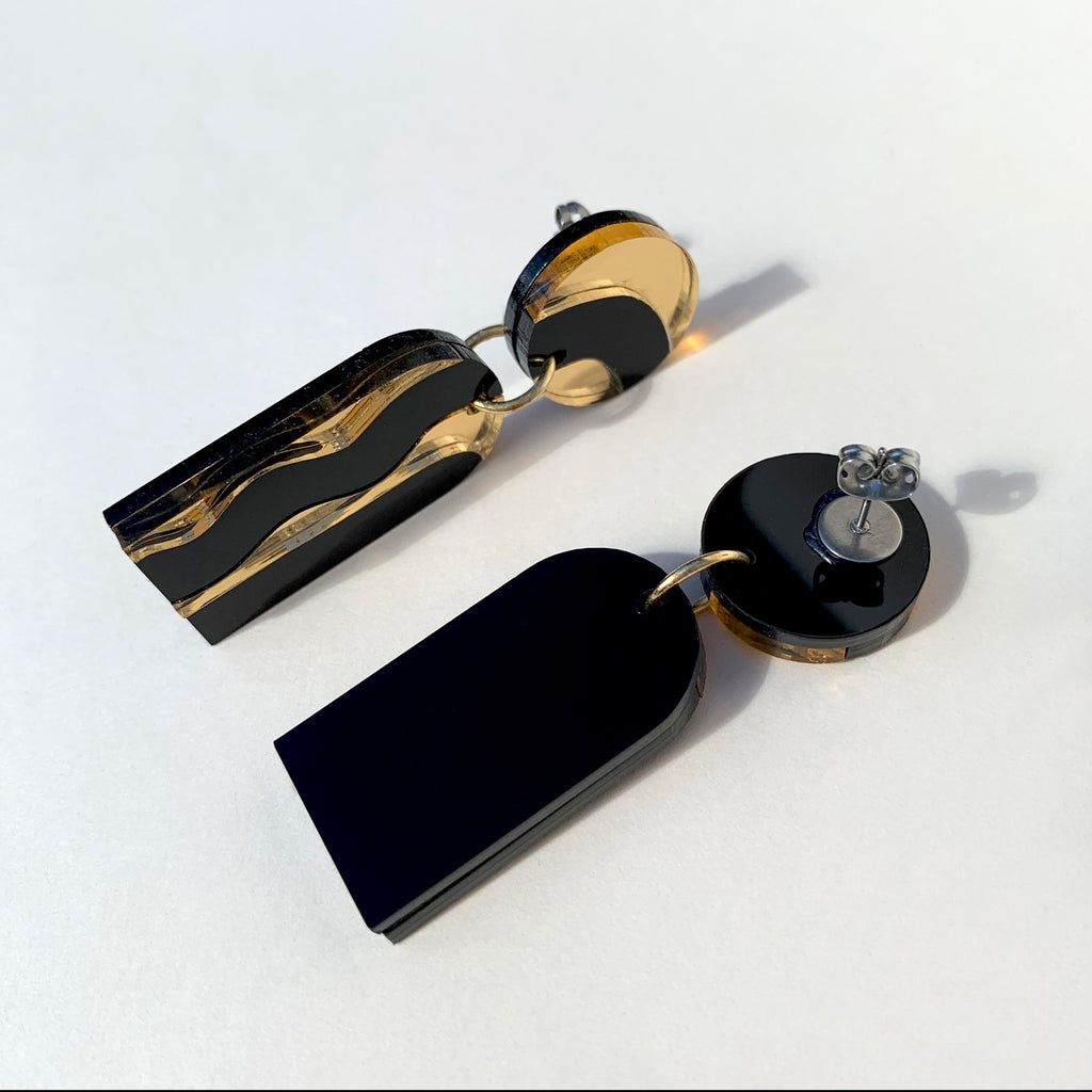 AURORA handmade statement earrings - mirror gold and black - back and side view