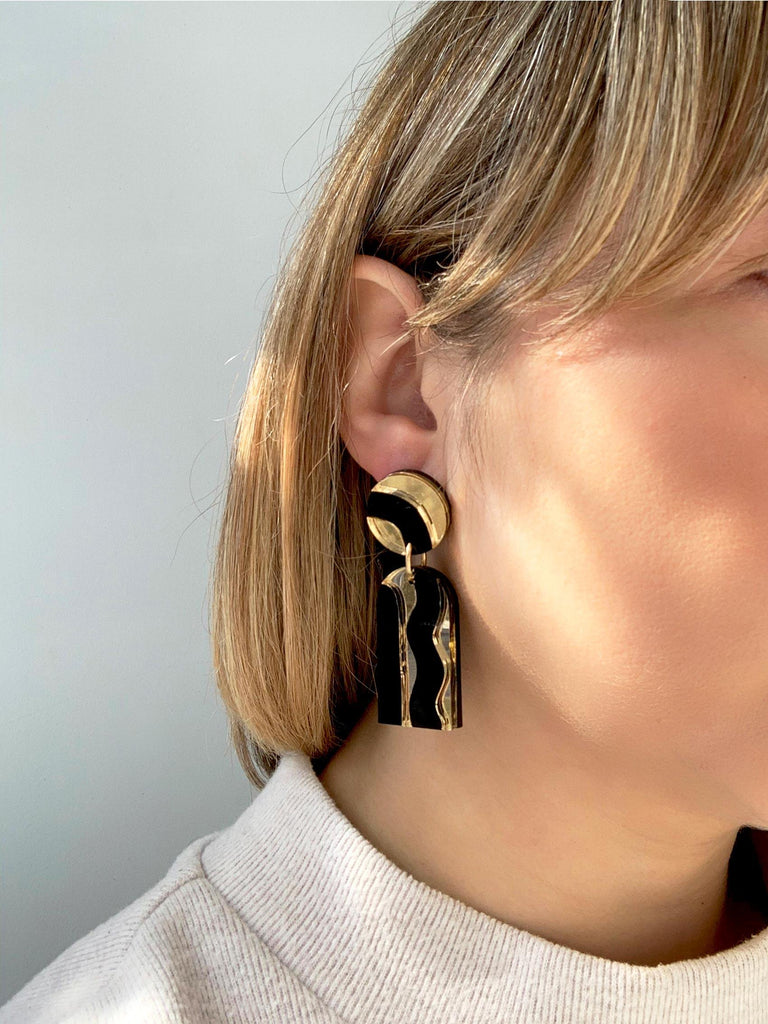 AURORA handmade statement earrings - mirror gold and black