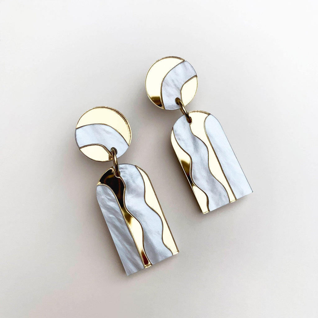 AURORA handmade drop earrings - mirror gold and white