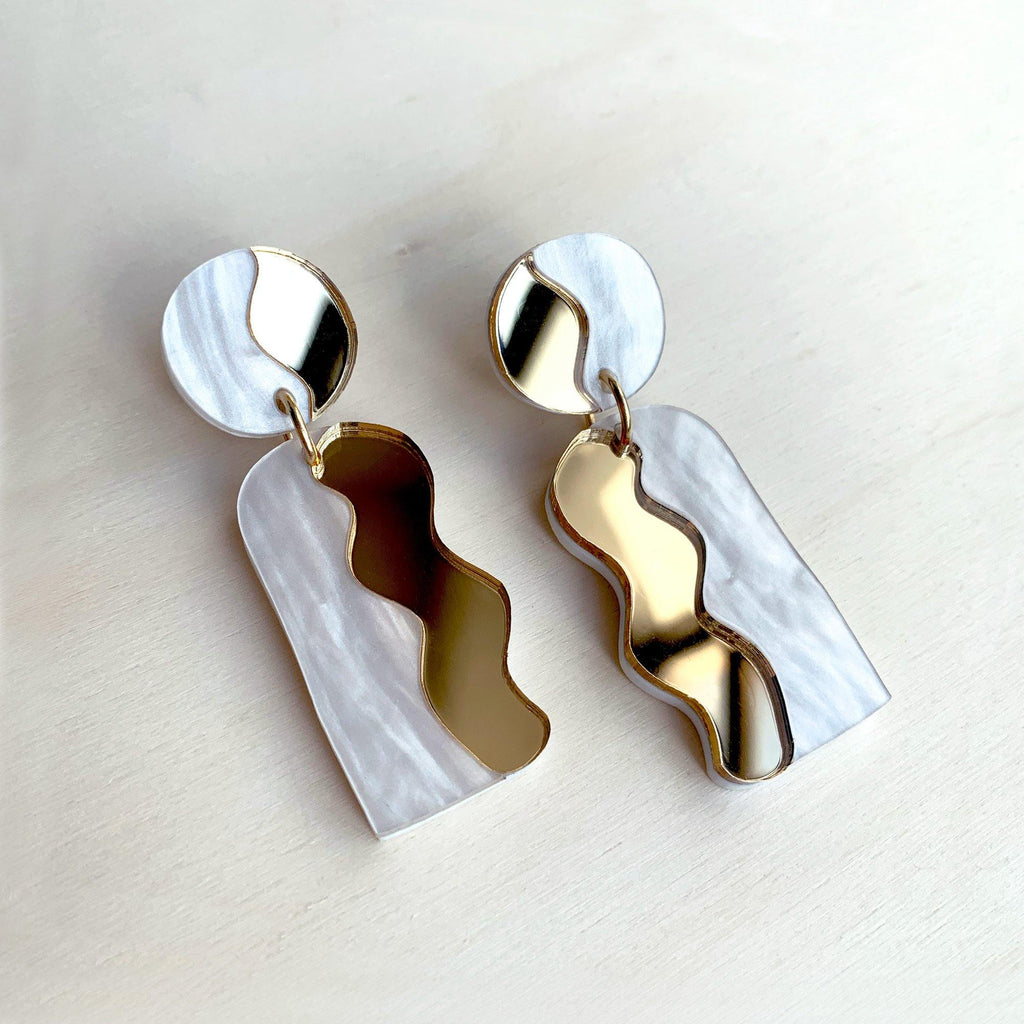 CALATA laser cut acrylic earrings - Mirror Gold and White Pearl