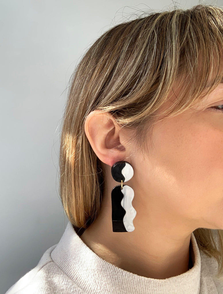 CALATA statement earrings on model - Black and White Pearl