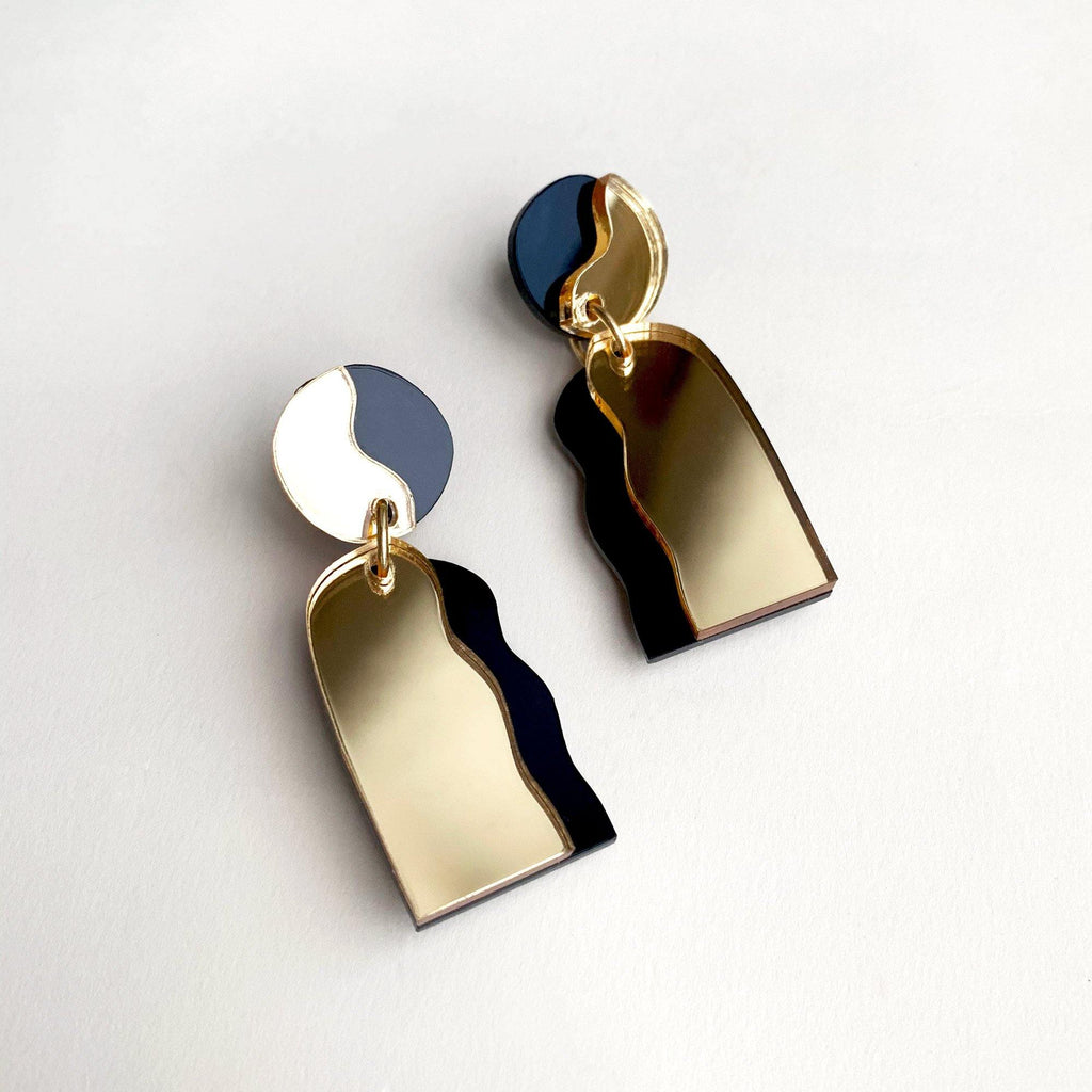 CELESTIA handmade statement earrings - mirror gold and black