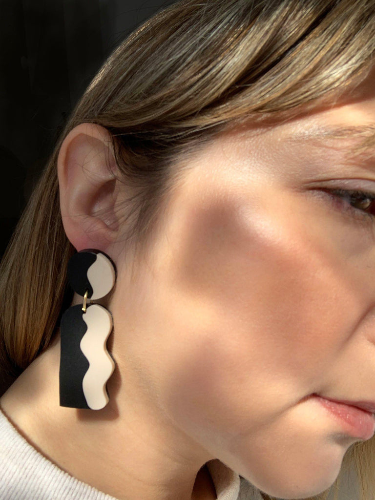 CALATA laser cut acrylic earrings - Matte Beige and Black