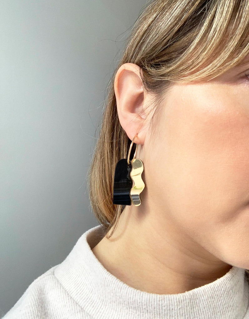 LEIA handmade statement hoop earrings on model  - mirror gold and black pearl