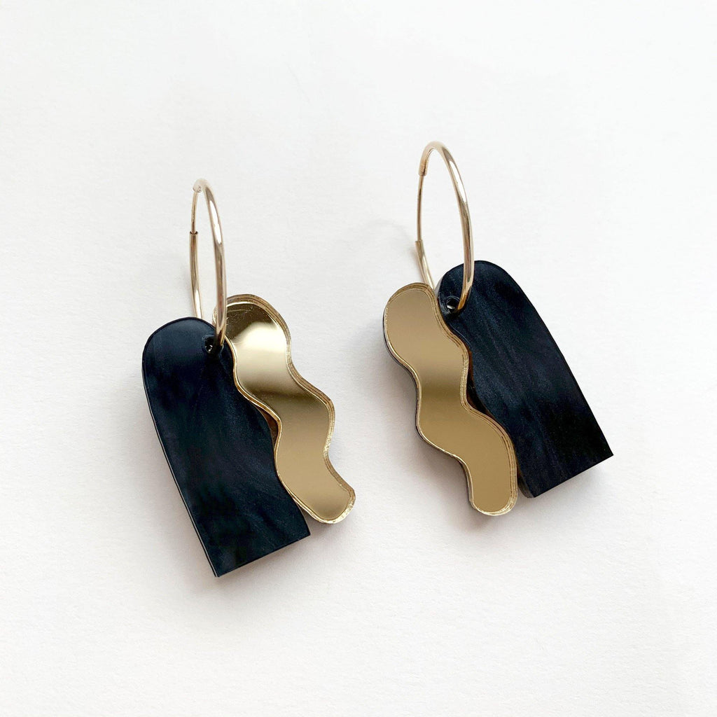 LEIA handmade statement hoop earrings  - mirror gold and black pearl