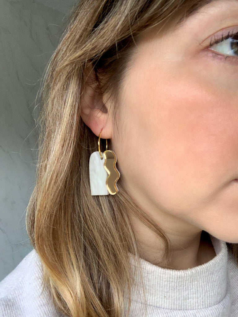 LEIA handmade statement hoop earrings on model - mirror gold and white pearl