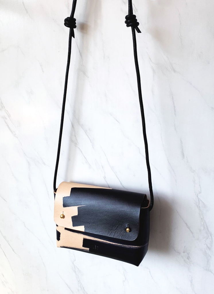 Leather mini handbag with strap