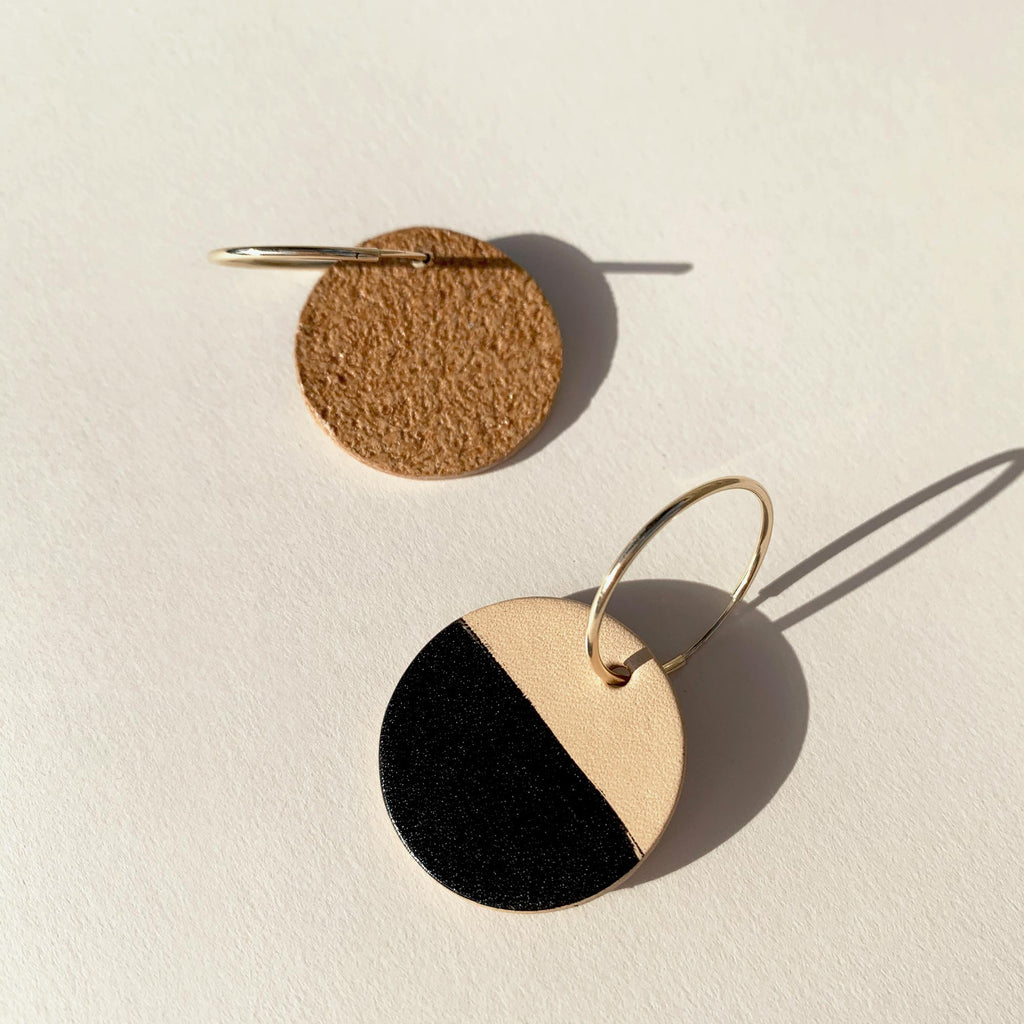 Leather earrings front and back view