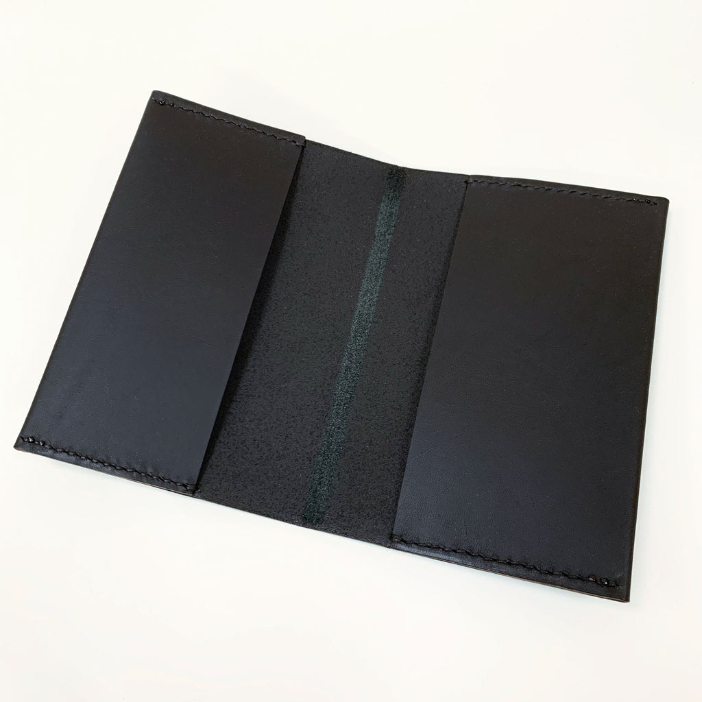 ORIN leather passport holder - matte black - open
