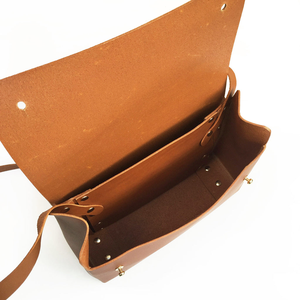 Handmade leather bag - inside view
