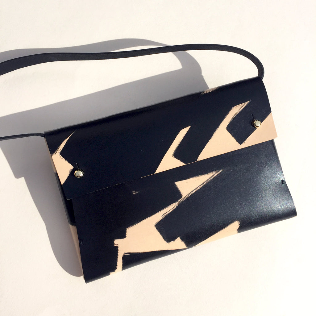 SASHA hand-painted leather clutch bag - Ink Brushed