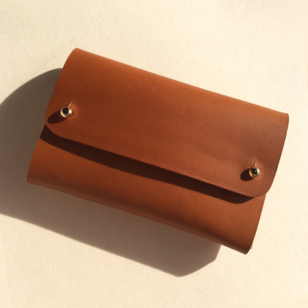 SASKIA handmade leather wallet - Tan