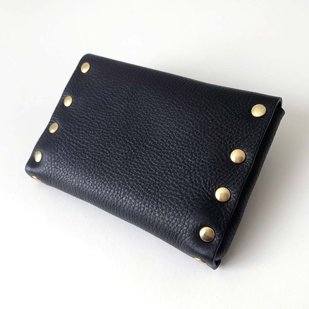 MONA handmade leather pouch - Grained Black