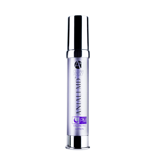 ANJALI MD Adult Acne PM Balancing Lotion printed on the front of A tall chrome bottle