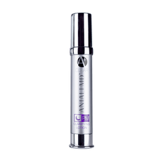 Load image into Gallery viewer, ANJALI MD Teen Acne PM Clarifying Lotion. A tall chrome bottle with ANJALI MD Printed in chrome, as well as the A+ logo and the product title printed in purple