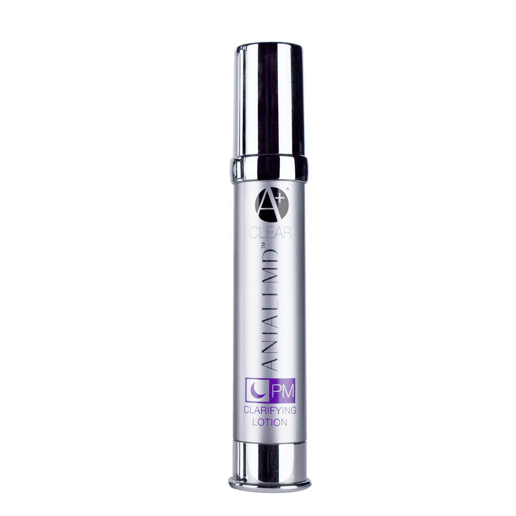 ANJALI MD Teen Acne PM Clarifying Lotion. A tall chrome bottle with ANJALI MD Printed in chrome, as well as the A+ logo and the product title printed in purple
