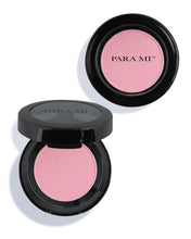 Load image into Gallery viewer, Artist Blush Packaging (Shade: Aura) - a compact black makeup container with the PARA MI Logo printed on the front. About 2 inches wide.