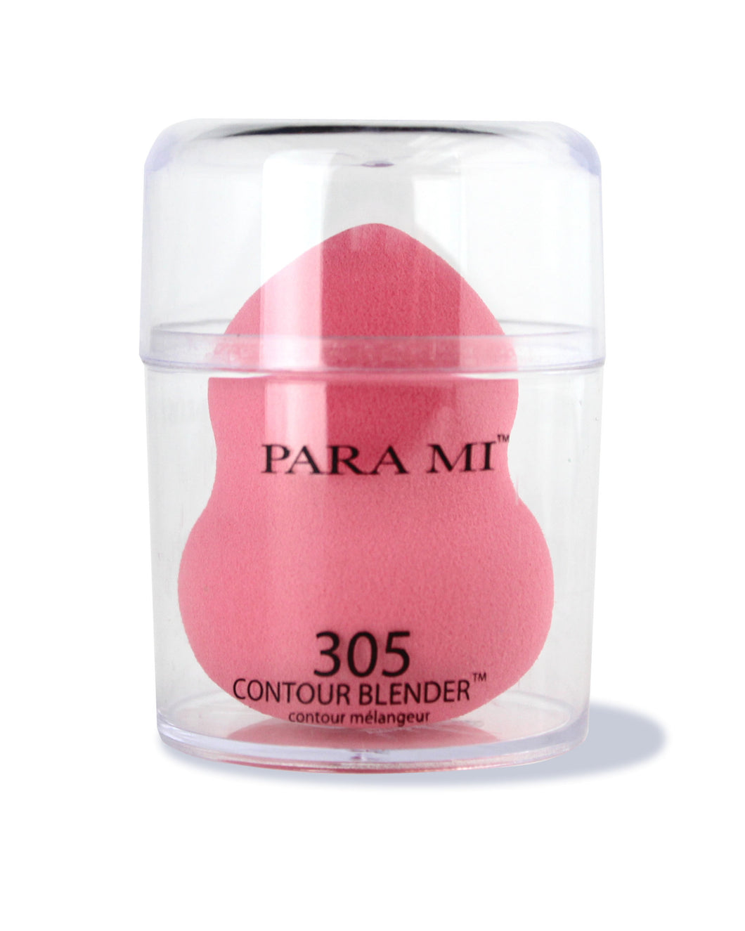 Para Mi - 305 Contour Blender, a pink teardrop shaped sponge inside a clear plastic container