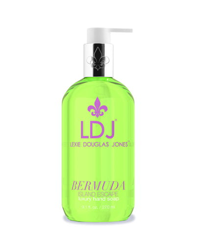 Lexie Douglas Jones Bermuda Hand Renewal Soap. A Green Pump Bottle with Pink Logo and Text.