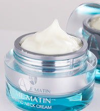 Load image into Gallery viewer, Age Rewind Neck Cream in ma chrome jar with a blueish glow - Top Cream View