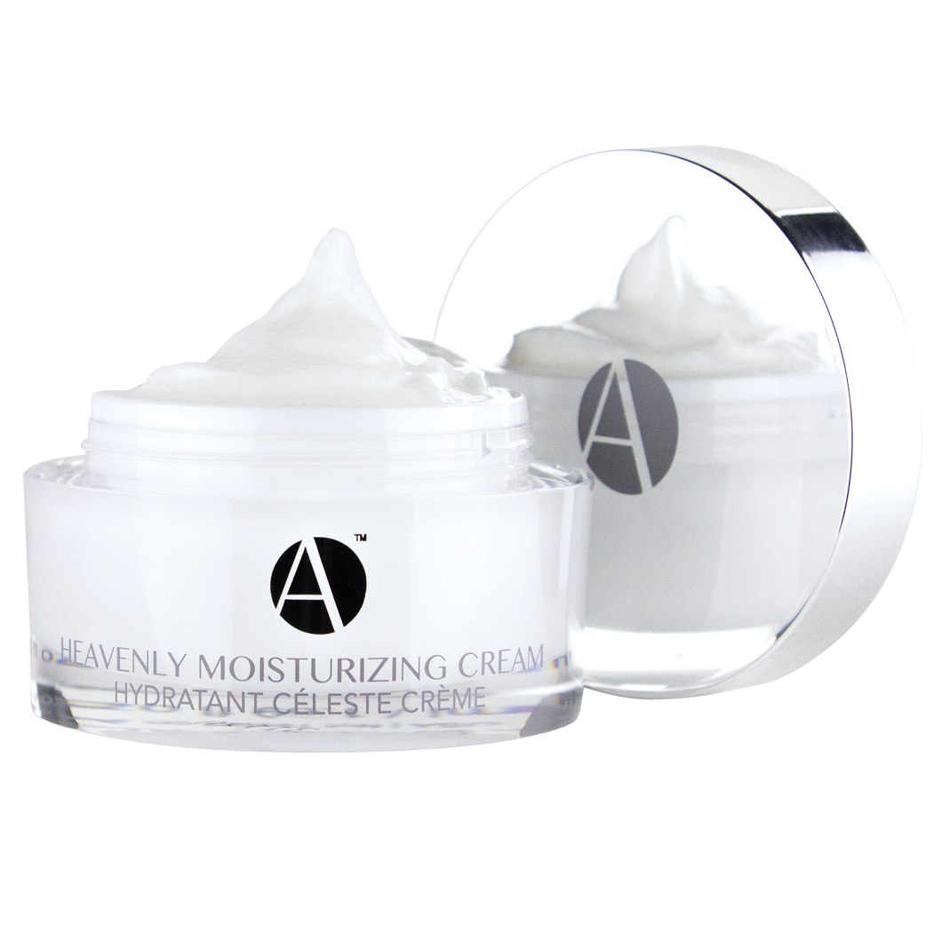 ANJALI MD Heavenly Moisturizing Cream for Intense Non-Greasy Hydration. A white cream inside a white acrylic jar with the