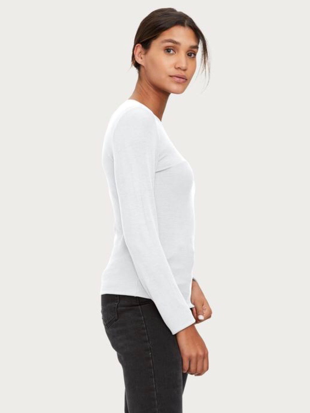 Ribbed Long Sleeve Crew Neck