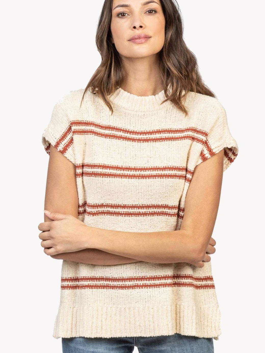 Striped Mock Neck Poncho Sweater