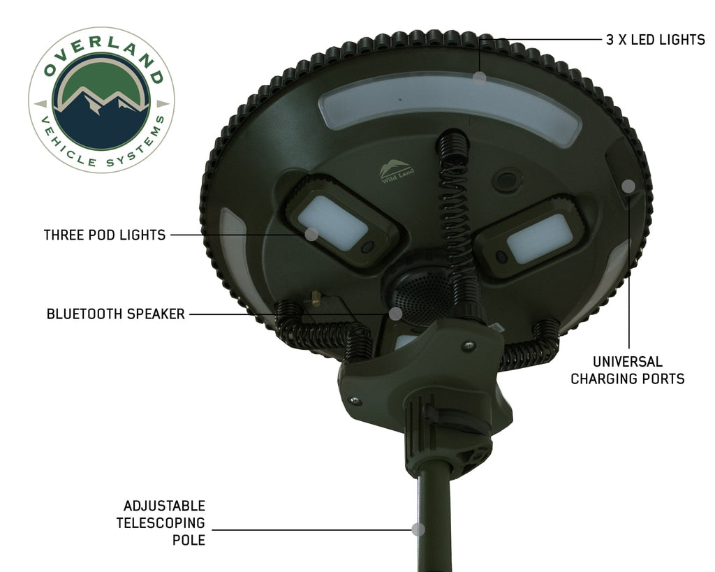 Overland Vehicle Systems Wild Land Camping Gear - UFO Solar Light Pods & Speaker Universal