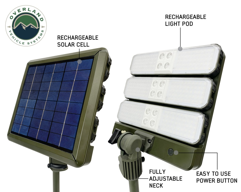 Overland Vehicle Systems Wild Land Camping Gear - ENCOUNTER Solar Powdered Camping Light with Removable Light Pods