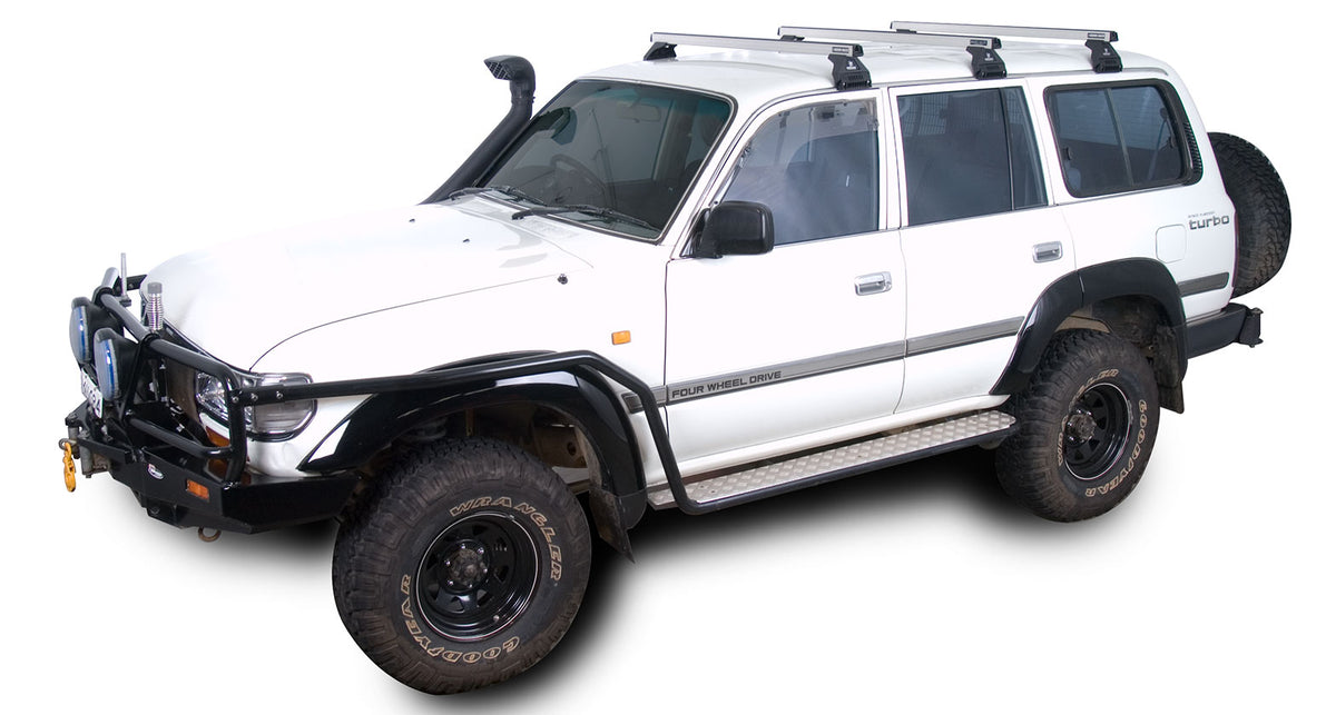 Rhino Rack Heavy Duty RL110 Silver 3 Bar Roof Rack - 80 Series Land Cruiser