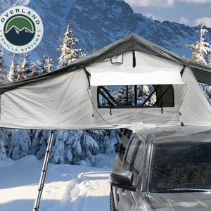 Overland Vehicle Systems 18039926 OVS Nomadic 3 Arctic Extended Roof Top Tent - White Base With Dark Gray Rain Fly & Black Cover Universal