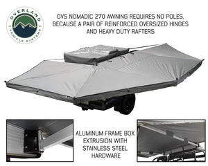 Overland Vehicle Systems OVS Nomadic Awning 270 Passenger Side - Dark Gray Cover With Black Cover Universal