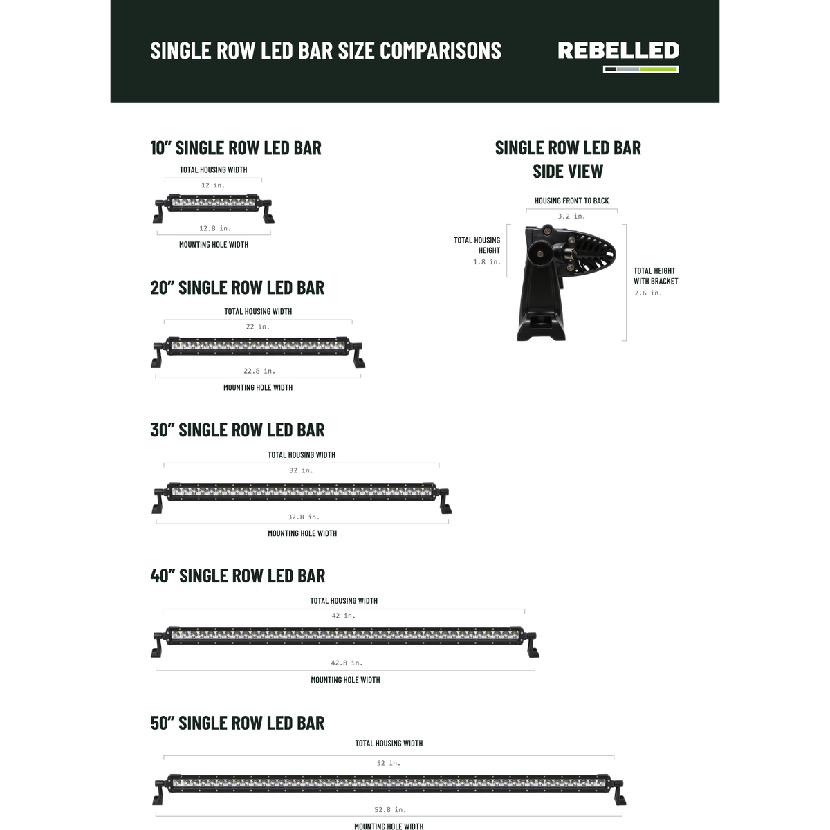 "Rebelled 40"" Single Row Off-Road LED Light Bar"
