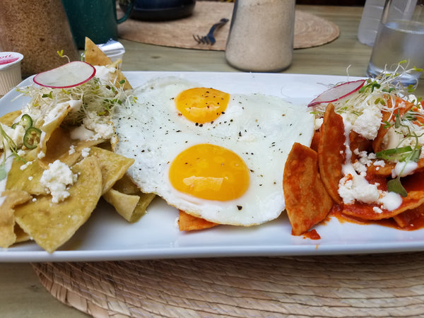 Huevos Racheros Divorciados at Pan:AM in Oaxaca