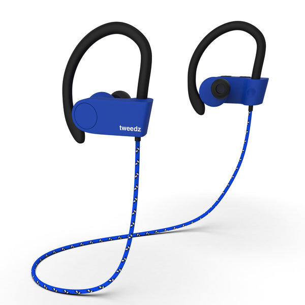Tweedz Sport - Durable Bluetooth Earbuds with Runner's Earhook (Blue)