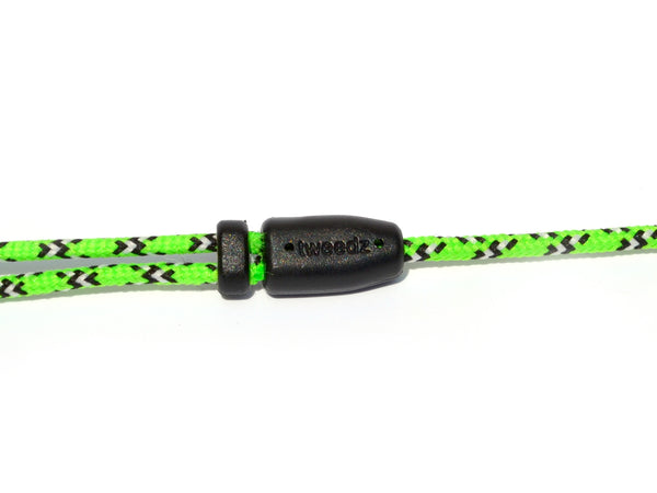 Neon Green Earbuds with White & Black Braided Accents