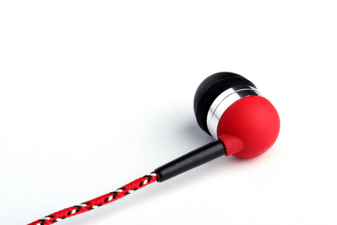 Red & White Braided Earbuds