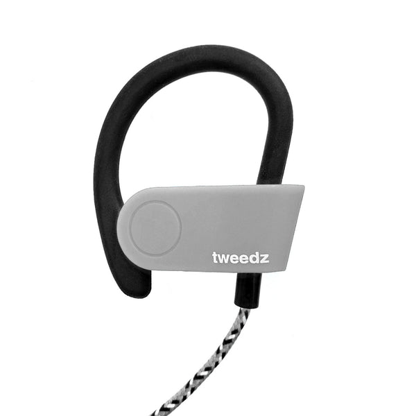Tweedz Sport - Durable Bluetooth Earbuds with Runner's Earhook (Grey)
