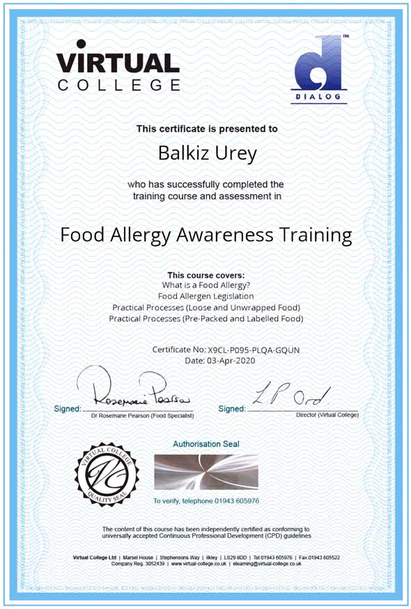 Level 2 Food Safety and Hygiene Certificate