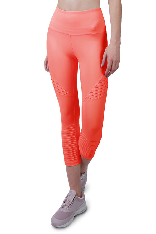 7/8 MOTO LEGGING IN HOT CORAL