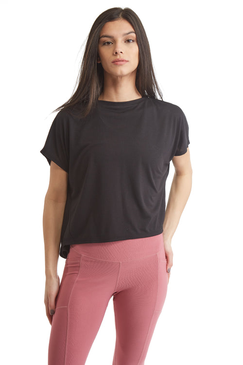 SHORT SLEEVE PULL OVER TOP WITH OPEN BACK-BLACK