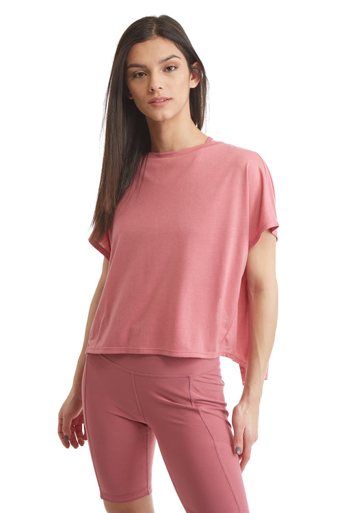 SHORT SLEEVE PULL OVER TOP WITH OPEN BACK-CASSIS